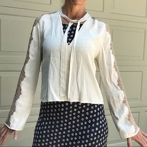 FREE PEOPLE ivory crepe cropped blouse S
